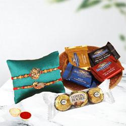 Stylish Rakhi Pair for Bhai with Chocolates