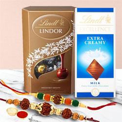 Astonishing Pair of Rudraksh Rakhis with Chocolates