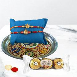 Gorgeous Rakhi Pair with Designer Thali N Chocolates