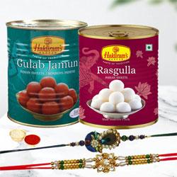 Attractive Rakhi Pair with Gulabjamun, Rasgulla n Rakhi Card