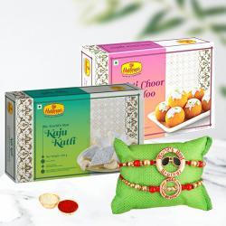 Exquisite Rakhi Set of 2 with Finest Kaju Katli N Laddoo