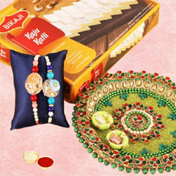 Dazzling Set of 2 Sequins Rakhis with Sweets N Thali