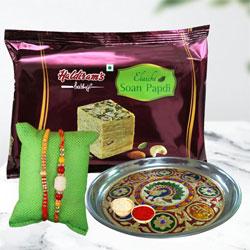 Trendsetting Rakhi Pair with Soan Papdi Pack N Thali
