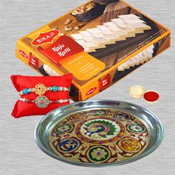 Exclusive Rakhi Pair with Sweets n Thali