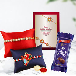Designer Rakhi Set of 2 with Cadbury Dairy Milk Chocolate