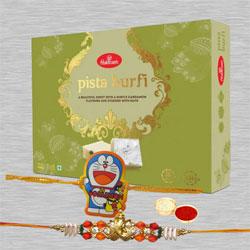 Classy Rakhi Set of 2 with Pista Barfi