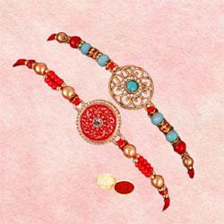 Exquisite Mini Medallion Rakhi with Roli Chawal n Card