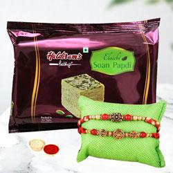 Soothing Rakhi Set of 2 with Soan Papdi, Roli Tika n Rakhi Card