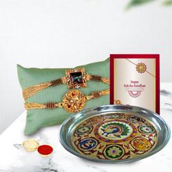 Classy Gift of Designer Thali with Rakhi Pair, Roli Tika n Card