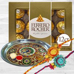 Stylish Set of 2 Rose Rakhi with Designer Thali N Chocolates