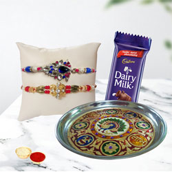 Stunning Bhaiya Rakhi with Thali N Cadbury Chocolate