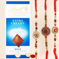 Splendid Combo of 3 Rakhis with Lindt Chocolate Bar