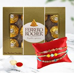 Exquisite Combo of 3 Rakhis with Ferrero Rocher Chocolates