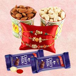 Glamorous Rakhi Set of 3 with Chocolate N Dry Fruits