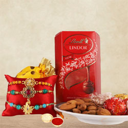Classy Rakhi Set for Bhaiya with Lindor Truffles n Almonds