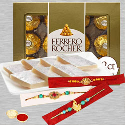 Attractive Rakhi Set with Chocolates N Sweets
