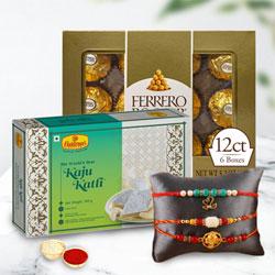 Astonishing Rakhi Set with Kaju Katli n Rocher Chocolates