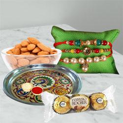 Trendy Rakhi Set with Puja Thali, Almond N Chocolates