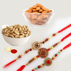 Exquisite Rakhi Set of 3 with Dry Fruits n Card