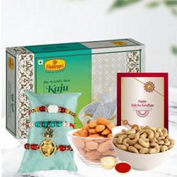 Charming Rakhi Set of 3 with Kaju Katli n Dry Fruits
