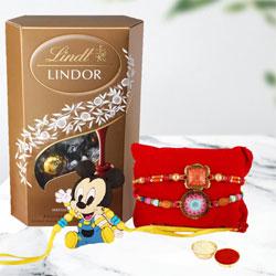 Elegant Set of Bhai Rakhi n Kids Rakhi with Lindt Chocolate