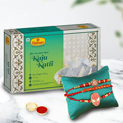 Designer Set of Bhai N Kids Rakhi with Kaju Katli, Free Card N Roli Chawal