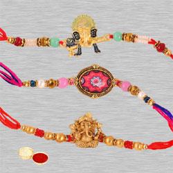 Magnificent Rakhi Set of 3 for Bhaiya, Free Roli Tika N Gift Card