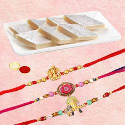 Gaudy Set of 3 Rakhis with Kaju Katli, Roli Tika n Rakhi Card