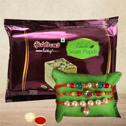 Magnificent Rakhi Set of 3 with Soan Papdi, Roli Tika N Card
