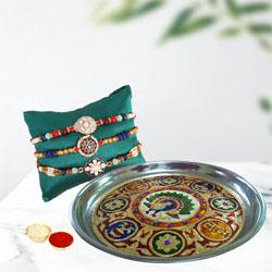 Classy Rakhi Set of 3 N Puja Thali for Bhai