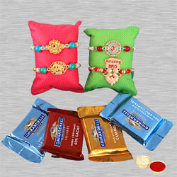 Gaudy Bhai Rakhis Set of 4 with Ghirardelli Chocolates