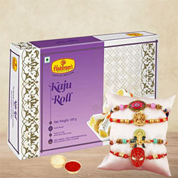 Classy Set of Bhai N Kids Rakhi with Kaju Roll