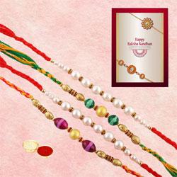 Elegant Set of 4 Beaded Rakhis with Roli Tilak, Chawal n Card
