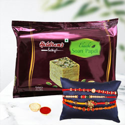 Classy Rakhi Love for 4 with Pack of Soan Papdi