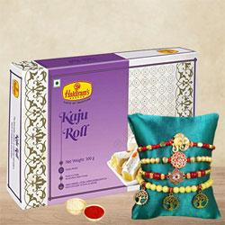Fabulous 4 Set of Rakhis with Kaju Roll n Card