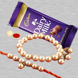 Suave Lumba Rakhi Set with Cadbury Dairy Milk, Rakhi Card N Roli Chawal