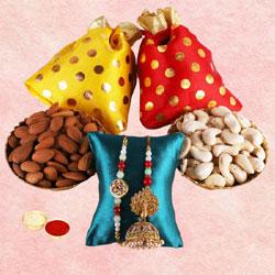 Exclusive Loomba Rakhi Set with Dry Nuts N Rakhi Card