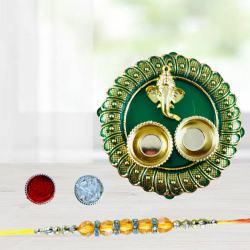 Magnificent Diamond Rakhi with Pooja Thali