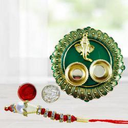 Graceful Lumba Rakhi with Designer Pooja Thali