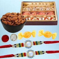 Exclusive Rakhi Set of 2 with Delicious Mithai N Dry Fruits
