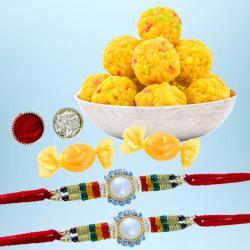 Splendid Rakhi Pair with Boondi Laddoo N Free Chocolates