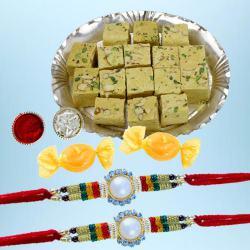 Stunning Rakhi Set of 2 with Soan Papdi N Free Chocolates