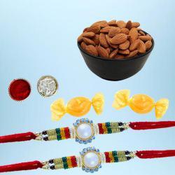 Dazzling Rakhi Pair with Dry Fruits N Free Chocolates