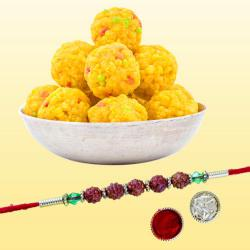 Impressive Rudraksh Rakhi with Tasty Boondi Laddo Pack