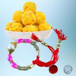 Splendid Bracelet Rakhi with Tasty Boondi Laddo Pack