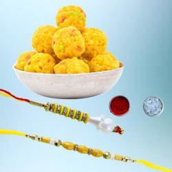 Dashing Bhaiya Bhabhi Rakhi N Tasty Boondi Laddoo Combo