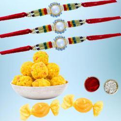 Stunning Rakhi Set of 3 with Boondi Laddoo N Free Chocolates