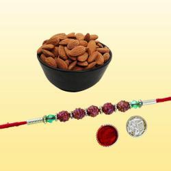 Auspicious Rudraksha Rakhi with Healthy Dry Fruits Pack