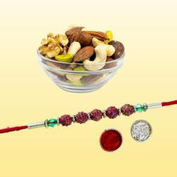 Gorgeous Rudraksha Rakhi N Healthy Dry Fruits Combo