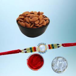 Lovely Gift of Designer Rakhi with Crispy Dry Fruits